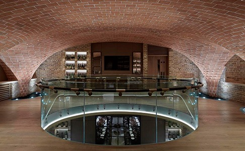Sussex Cellar with brick-lined domed ceiling and glass balcony
