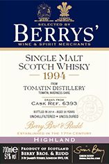 1994 Berrys' Own Selection Tomatin, Single Malt Whisky, 51.0%
