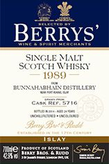 1989 Berrys' Own Selection Bunnahabhain, Islay, Single Malt Whisky, 42.9%