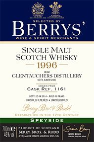 1996 Berrys' Own Selection Glentauchers, Cask 1161, Malt Whisky, 46.0%