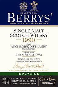 1990 Berrys' Own Selection Auchroisk, Single Malt Scotch Whisky, 46.0%