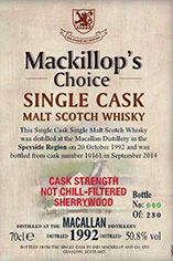 1992 Macallan, Speyside, Single Malt Whisky, 50.8%