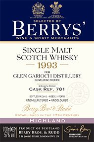 1993 Berrys' Own Selection Glen Garioch, Cask 781, Single Malt Whisky, 57.0%