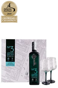 No. 3 Gin & 2 Copa Glasses, Gift Pack